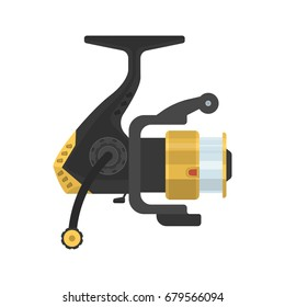 Illustration of fishing fixed-spool reel on white background. Fishing equipment and fish farming topics.