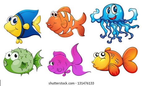 Illustration of the five different kinds of sea creatures on a white background