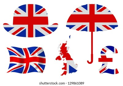 Illustration of five United Kingdom related items