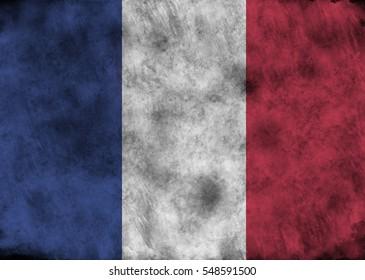 Illustration - flag of  France on vintage texture.