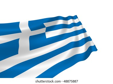 Illustration of flag of Greece waving in the wind