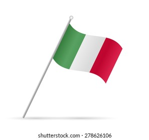 Illustration of a flag from Italy isolated on a white background.