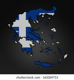 Illustration with flag in map on carbon background - Greece