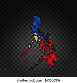 Illustration with flag in map on carbon background - Philippines