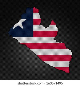 Illustration with flag in map on carbon background - Liberia