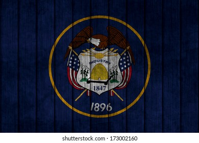 Illustration with flag in map on grunge background - Utah