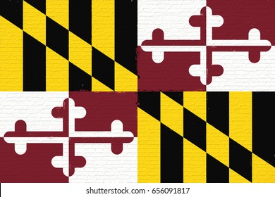 Illustration of the flag of Maryland state in America looking like it is painted on a wall.
