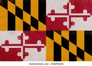 Illustration of the flag of Maryland state in America with a grunge look.