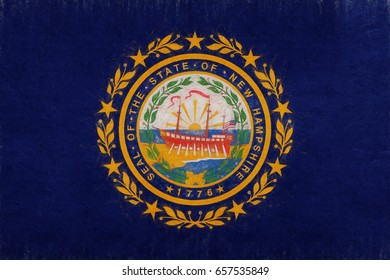 Illustration of the flag of New Hampshire state in America with a grunge look.