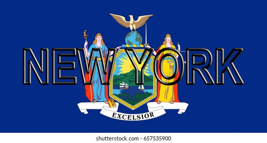 Illustration of the flag of New York state in America with the state written on the flag.