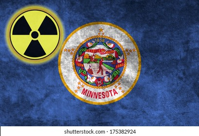 Illustration with flag on grunge background with nuclear sign - Minnesota