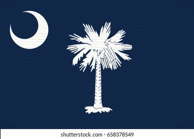 Illustration of the flag of South Carolina state in America looking like it is painted on a wall.