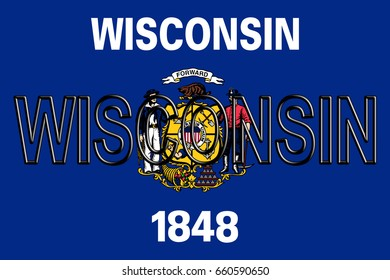 Illustration of the flag of Wisconsin state in America  with the state written on the flag.