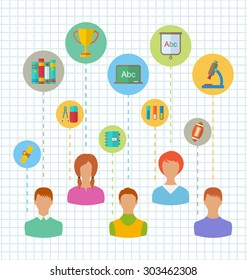 Illustration Flat Colorful Simple Icons of Schoolchildren and Education Elements - raster