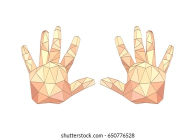 Illustration of flat origami palm hands isolated on white background