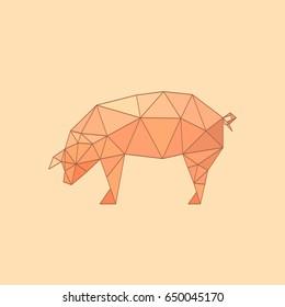 Illustration of flat origami pig isolated on polychrome background