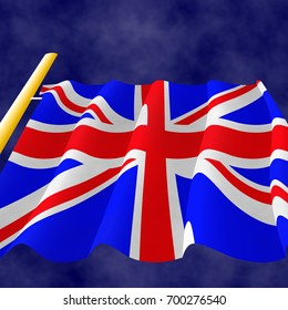 Illustration of a flying British Flag, view up