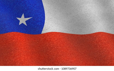 Illustration of a flying Chilean flag