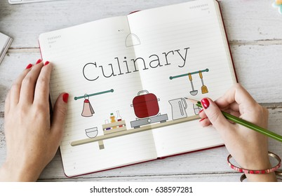 Illustration of food cooking kitchen utensil on notebook