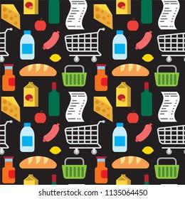 illustration of food supermarket products seamless pattern