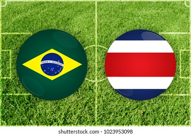 Illustration for Football match Brazil vs Costa Rica