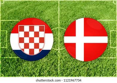 Illustration for Football match Croatia vs Denmark