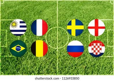 Illustration for Football match of quarterfinal, Uruguay vs France, Brazil vs Belgium, Sweden vs England, Russia vs Croatia