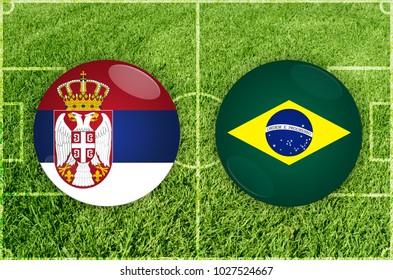 Illustration for Football match Serbia vs Brazil