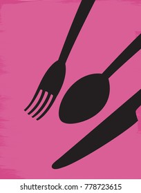 Illustration of a fork, spoon, and knife on a purple background