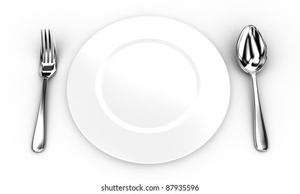 Illustration of fork and spoon near a white plate