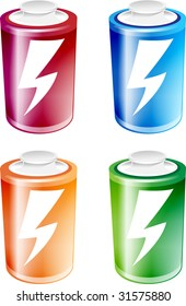 An illustration of four batteries of different colors, isolated on a white background (part of the tekno icon set)