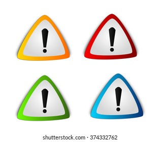 Illustration of four different colored warning triangles