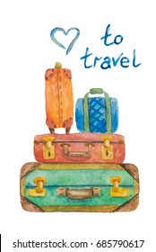 Illustration of four multicolored suitcases for travel on a white background painted with watercolor