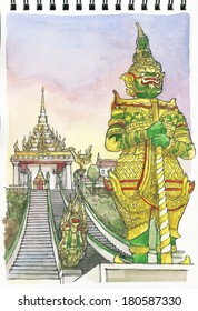 illustration freehand drawing architecture of Wat Phra Buddhabat, Saraburi, Thailand