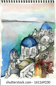 Illustration freehand watercolor drawing and painting of Santorini, Greece on sketch book