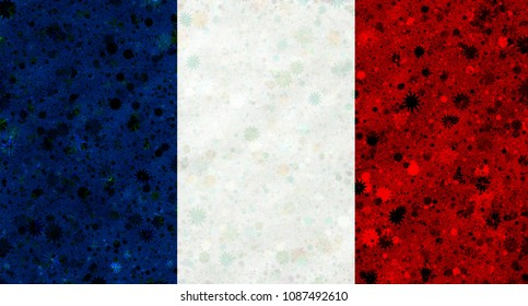 Illustration of a French flag with a blossom pattern