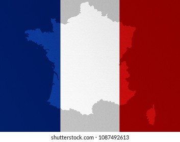 Illustration of a French flag with a contour of borders