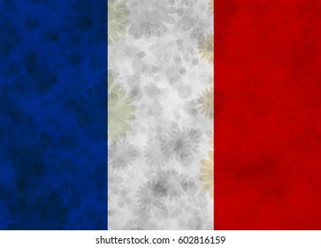 Illustration of French Flag with silhouettes of blossoms scattered around