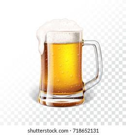illustration with fresh lager beer in a beer mug on transparent background.
