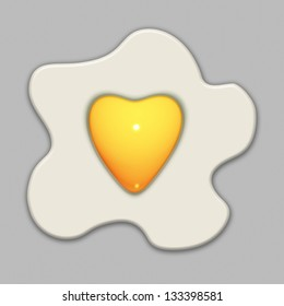An illustration of a fried egg with a heart shaped yolk on a grey background