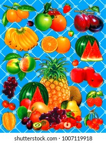 An illustration of fruits as a background or wallpaper