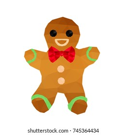 Illustration of funny origami gingerbread with red ribbon