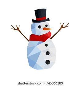 Illustration of funny origami snowman with top hat