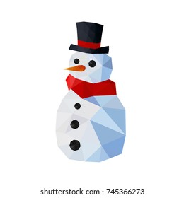 Illustration of funny origami snowman with top hat and red scarf