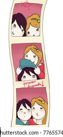 Illustration of funny passport style photos of two girls. Digital colors