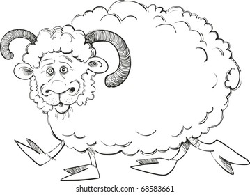 illustration of funny ram for coloring book