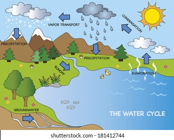 Water cycle diagram images stock photos vectors shutterstock illustration of funny water cycle ccuart Choice Image