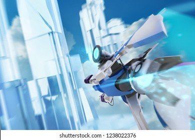 Illustration of a futuristic blue colored sci-fi spaceship aircraft flying through daylight crystal building structures in clouds background third person front view.