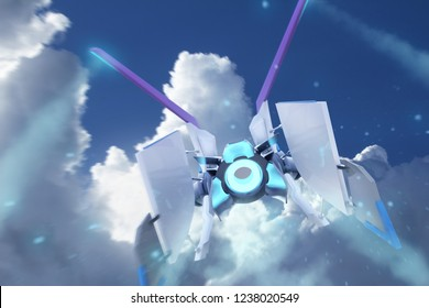 Illustration of a futuristic blue and white colored sci-fi spaceship aircraft flying on daylight cloudscape background third person view.