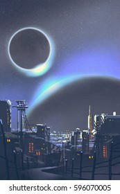 illustration of the futuristic city with planets and solar eclipse on background,digital painting